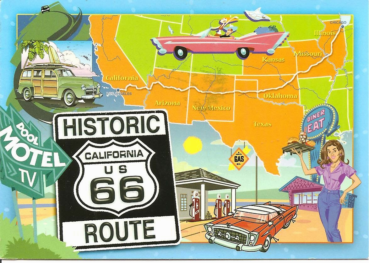 MY POSTCARDPAGE USA Historic Route - Us highway map with time zones