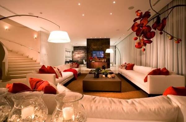 Lindas salas en blanco y rojo salas con estilo for Sala de estar rojo y blanco