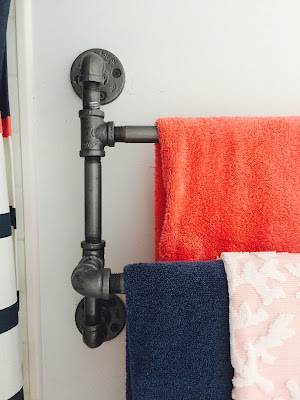 pipe towel rack DIY, industrial double towel rack DIY