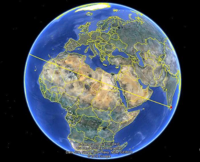 Антенна древней РЛС на вершине Пидурангалы была направлена на северную Африку и дальше