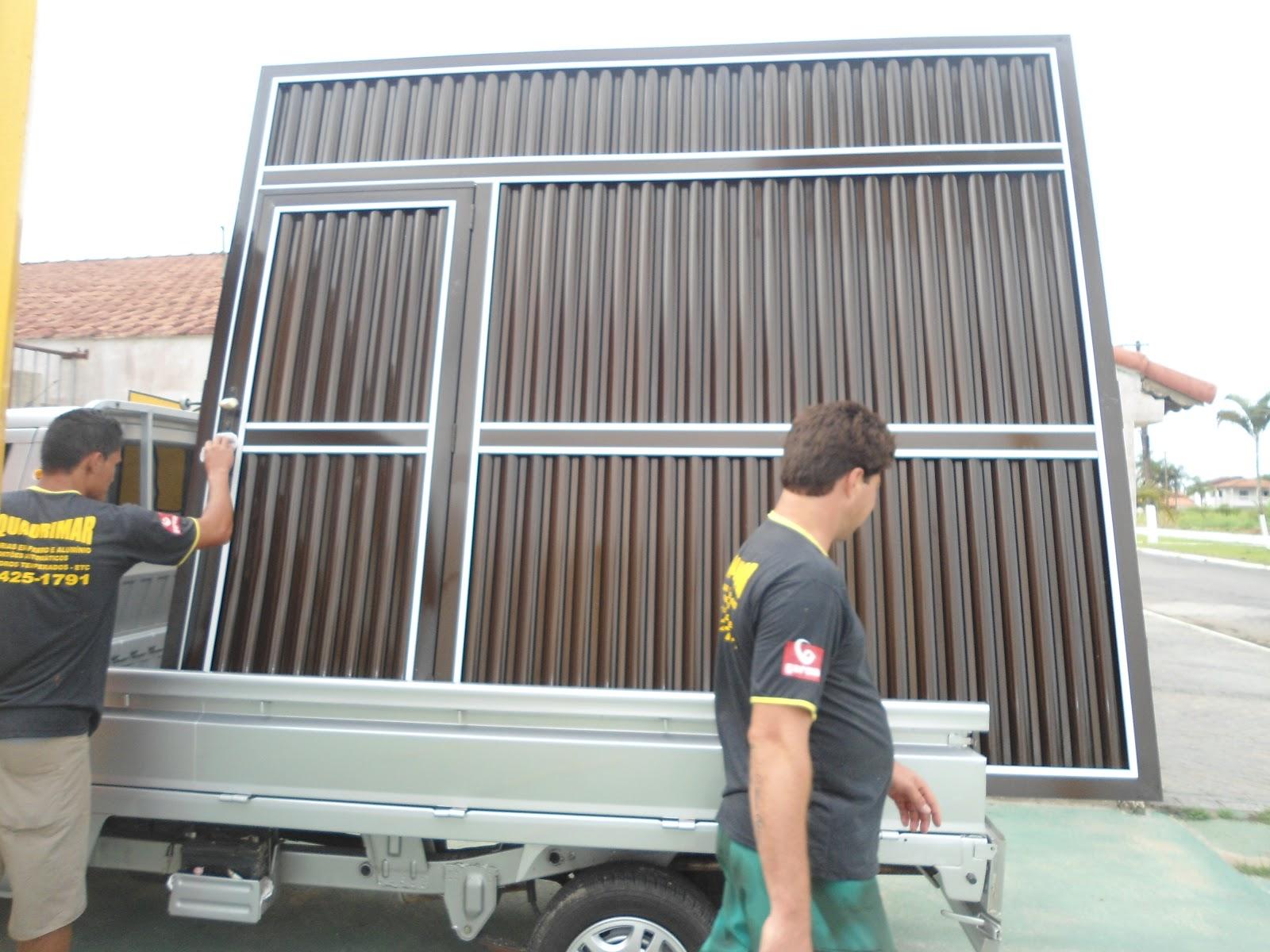 #9A7431 Serralheria Esquadrimar 13 974135957/13997113189 PORTÕES AUTOMÁTICOS  970 Porta De Aluminio Com Janela Basculante