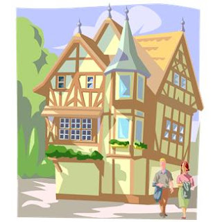 MS Office ClipArt: buildings, chalets, couples, inns, Swiss architecture, tourists, travelers, an illustration for an article Build Yourself a Dream Business: Open a B&B