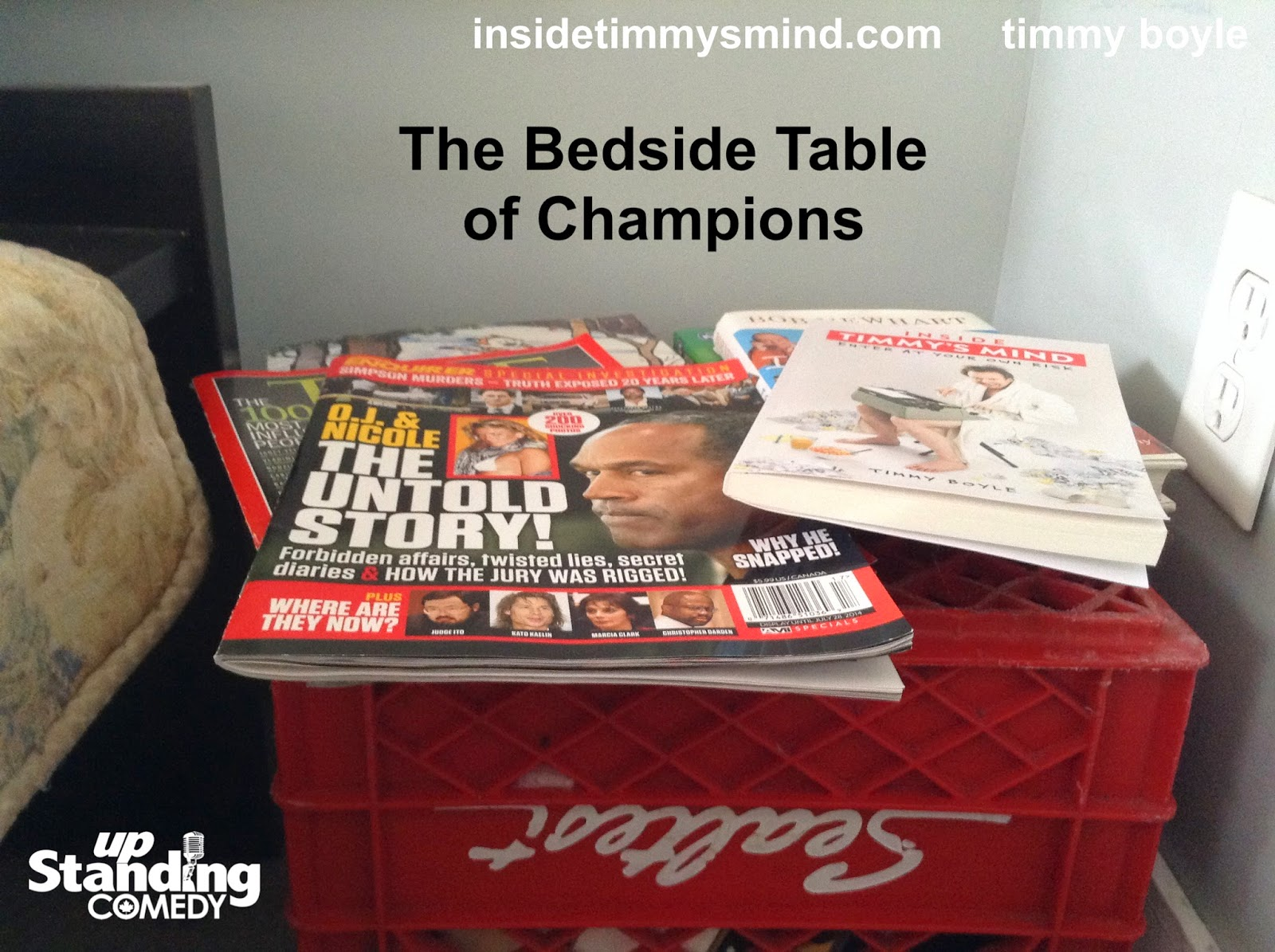 Inside Timmy's Mind - The Bedside Table of Champions (a Sealtest Milk Crate)