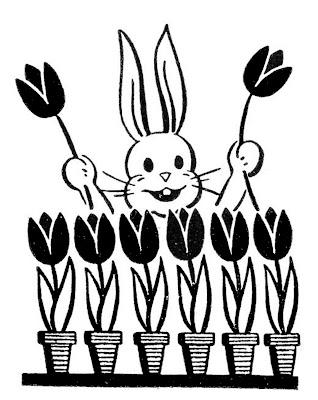 Ретро Easter Bunny изображения Тюльпаны