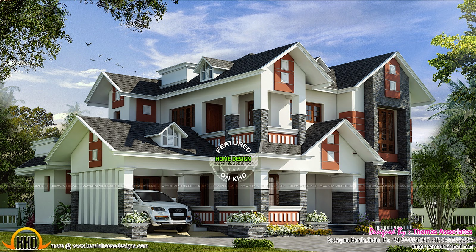 Modern mix house with dormer windows kerala home design for Dormer house plans designs