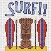 surf tiki hawaiian surf board cross stitch chart