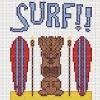 surf tiki hawaiian surf board cross stitch chart