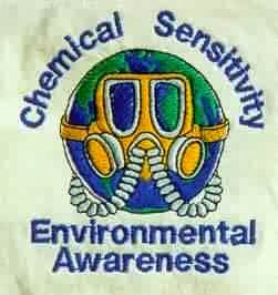 "picture of a gas mask around earth with the words ""chemical sensitivity environmental awareness"""
