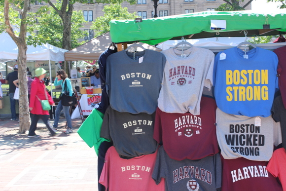 This pop up t-shirt shop has Boston themed shirts.