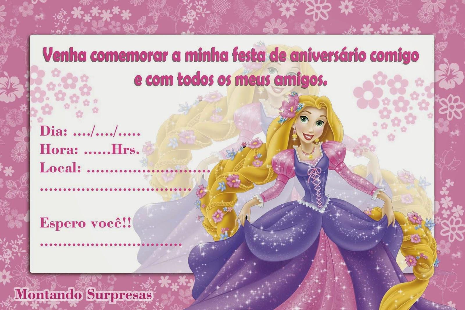 Montando Surpresas: Convite Rapunzel grátis para baixar e imprimir