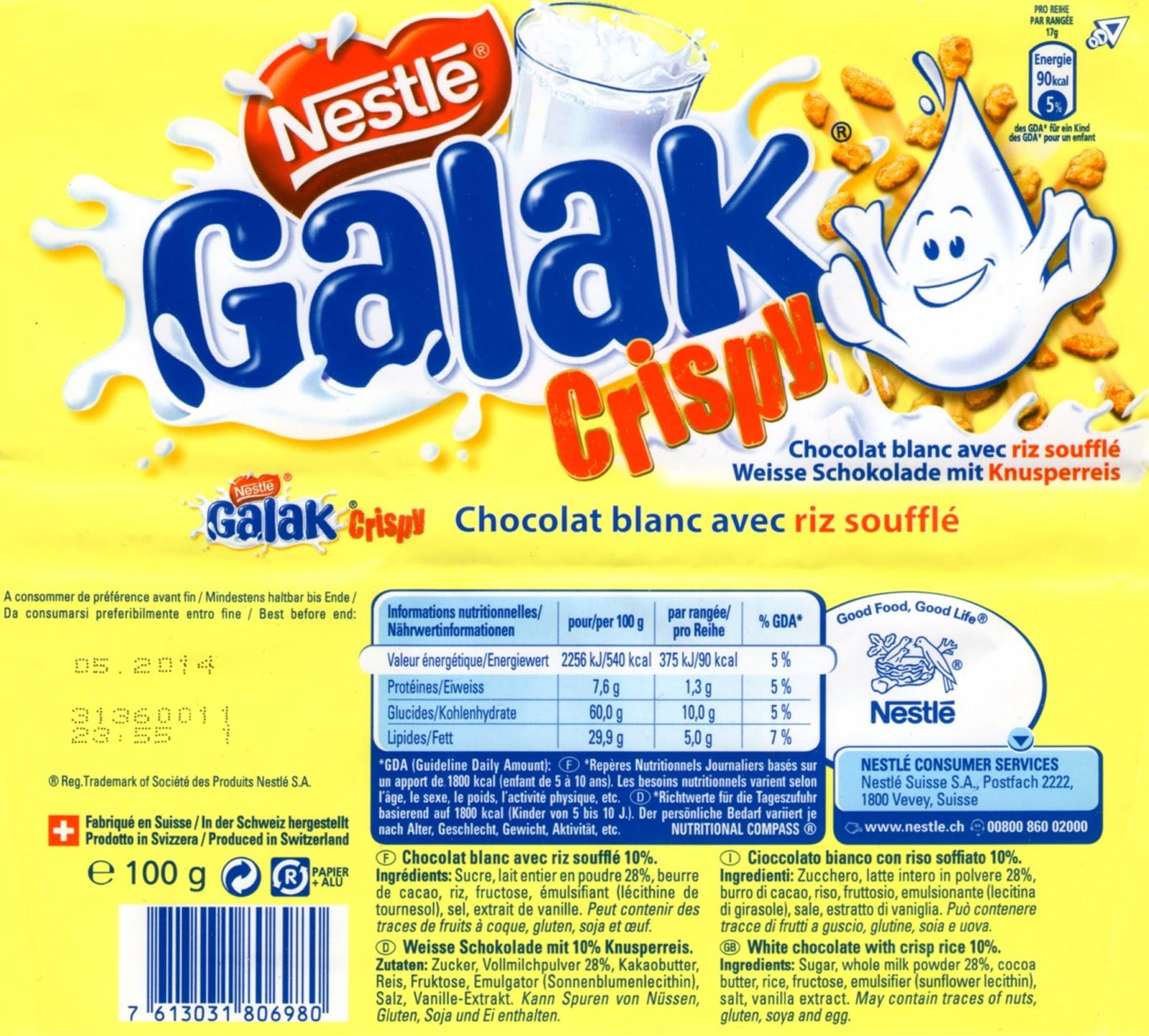 tablette de chocolat blanc gourmand nestlé galak crispy