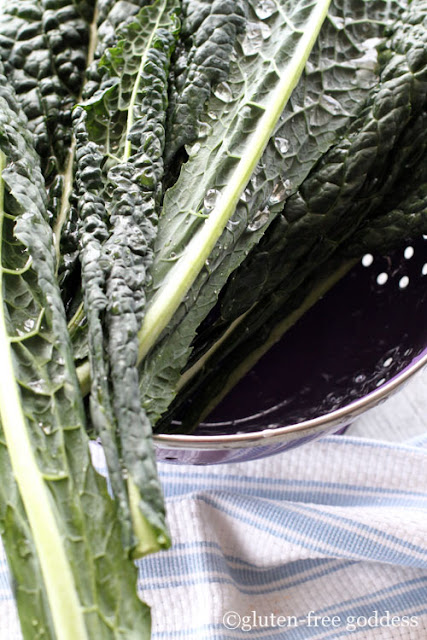 fresh washed lacinato kale