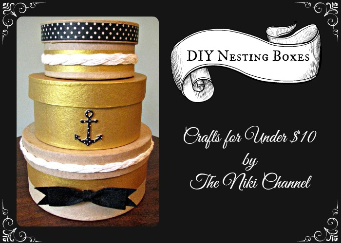 Black and Gold Decorative Nesting Boxes with Nautical Theme