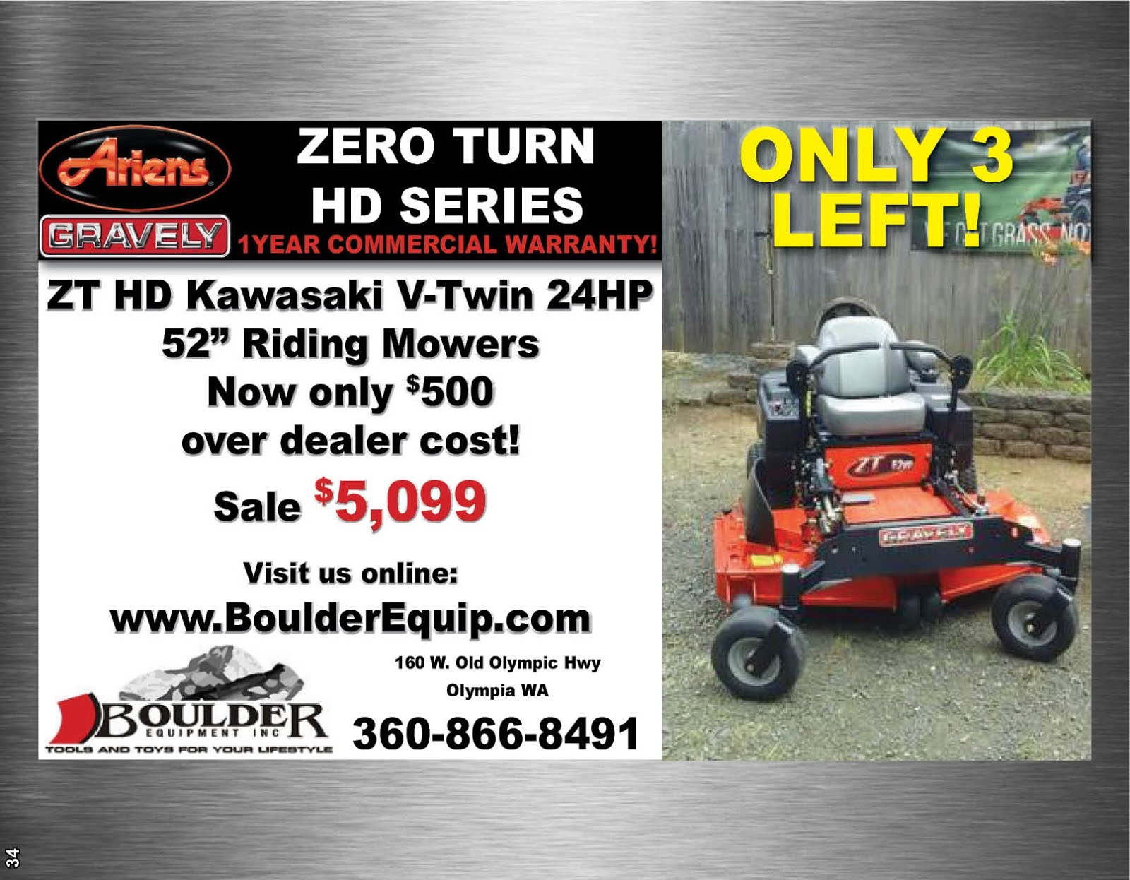 Boulder Equipment Zero Turn Riding Mower Sale!!
