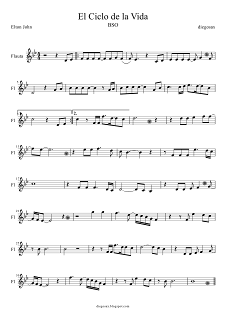 Partitura de El Ciclo de la Vida para Flauta Dulce o Travesera (para tocar con la música). Partitura de Flauta de El Rey León. (Circle of life flute music score, flute sheet music for The Lion King