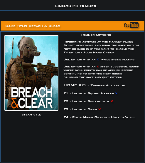 Breach And Clear v1.0 Steam Trainer +4 [LinGon]