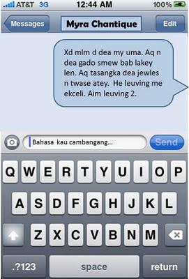 Bahasa ayat sms sekarang yang ambil masa 10 minit nak faham