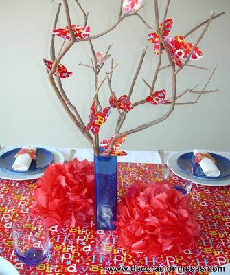 decoracion mesa cumpleaños niños centro mesa mariposas