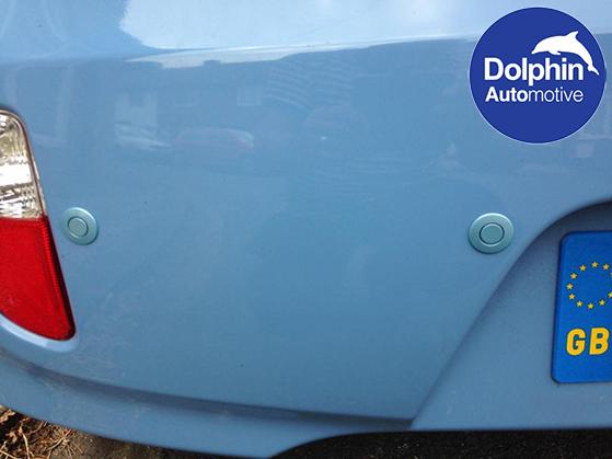 close up of the parking sensors