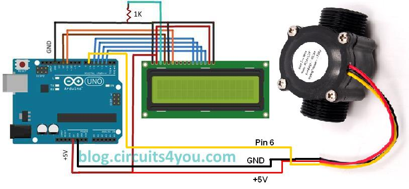 Arduino flow measurement | circuits4you.com