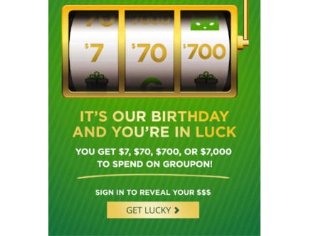 Groupon Lucky 7 Birthday Sale 7% off or Free $7, $70, $700 or $7000 off