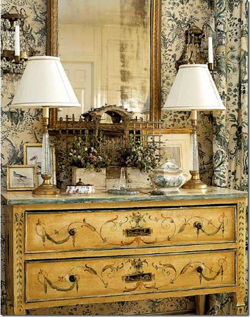 French Provencal Eclectic Room Home Decor Ideas Wallpaper Lamps