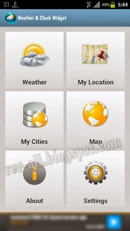 Tampilan utama Weather & Clock Widget - aplikasi android untuk mengetahui cuaca dan jam dunia plus widget