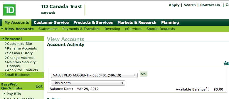 Td bank statement template