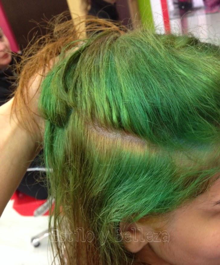 Cabello verde por tinte