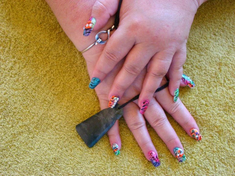 French-acrylic-nails-bling-single-double-triple-rainbow-colors-toe-nail-zebra-tiger-cougar-cheetah-metallic-pearls-mixed-zebra-stripes-natural-nail