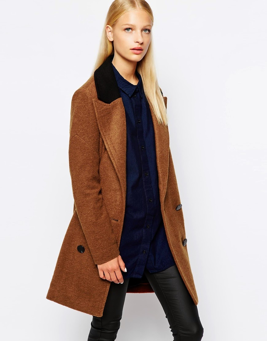 brown coat with black collar