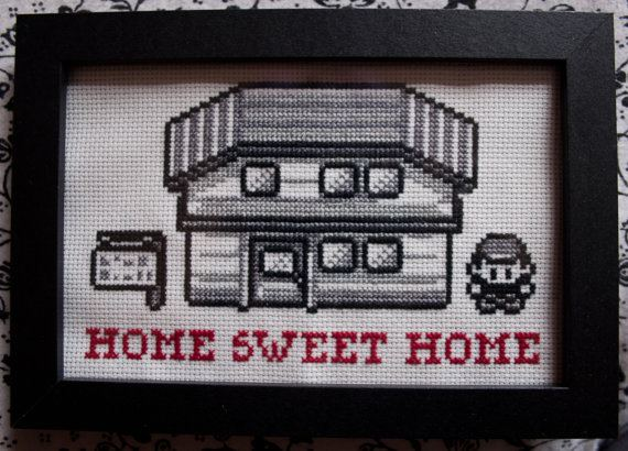 player of oldschool pokemon game stading at side of his house of beginning of the game with the words: home sweet home