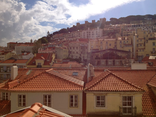 Rooftop view of St. George's Castle in Lisbon on Semi-Charmed Kind of Life