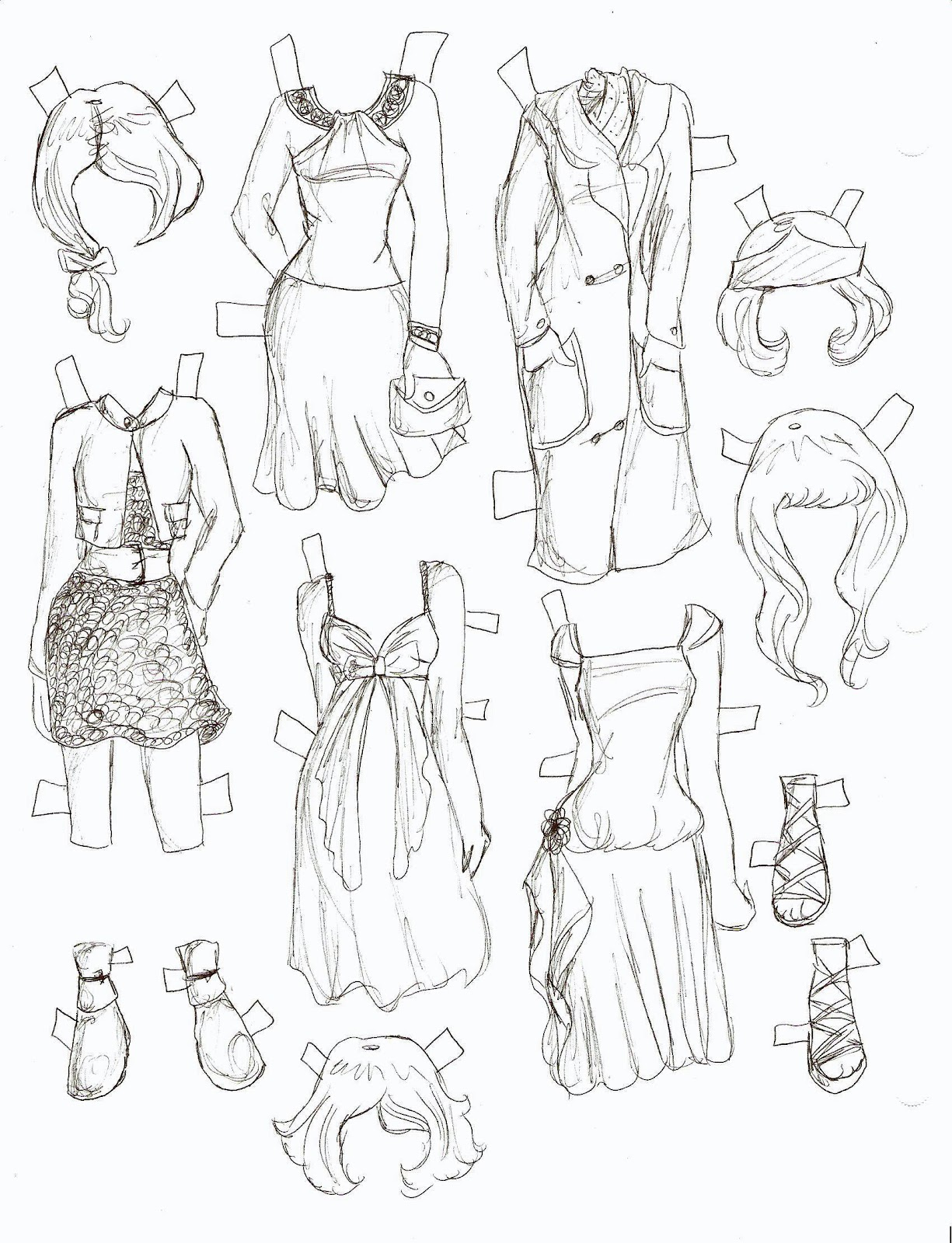 Hairstyles This Is  The Black And White Sketch Version Her Outfits