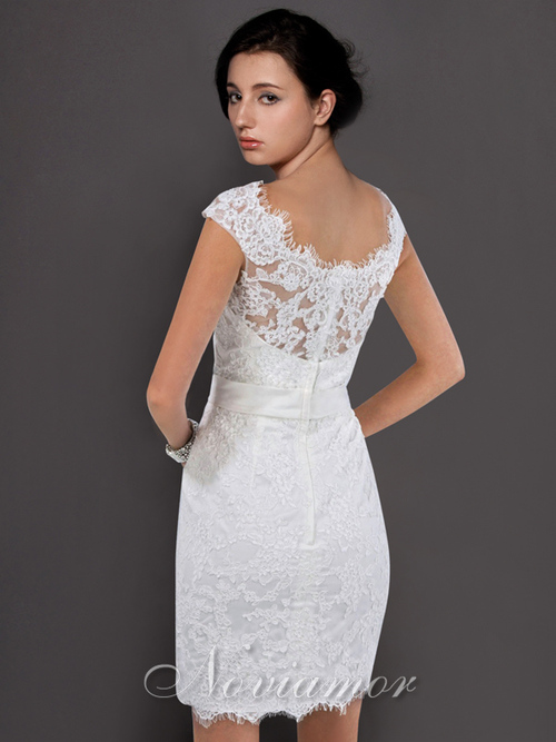 White Short Lace Wedding Dress - Ocodea.com