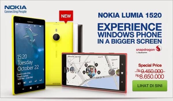 Nokia Lumia 1520 Harga spesial Rp 8.650.000