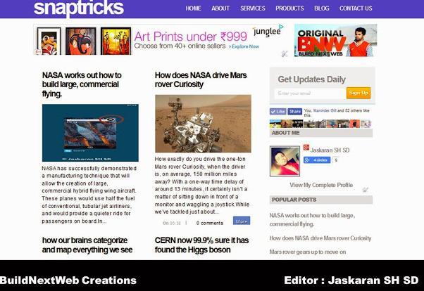 Snaptricks blogger template