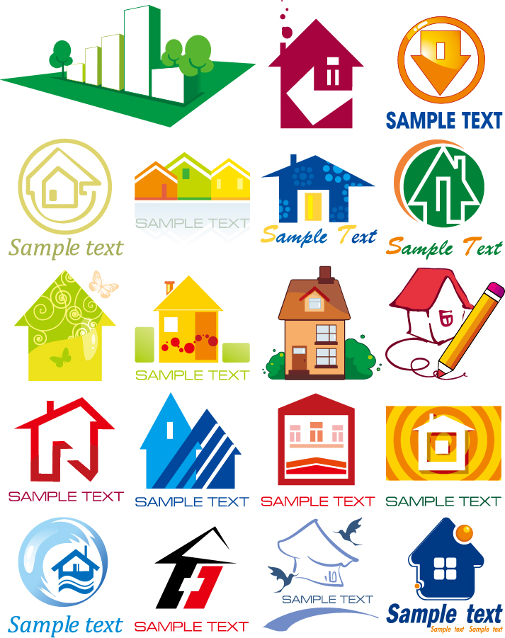 建物アイコン small houses of the style vector イラスト素材
