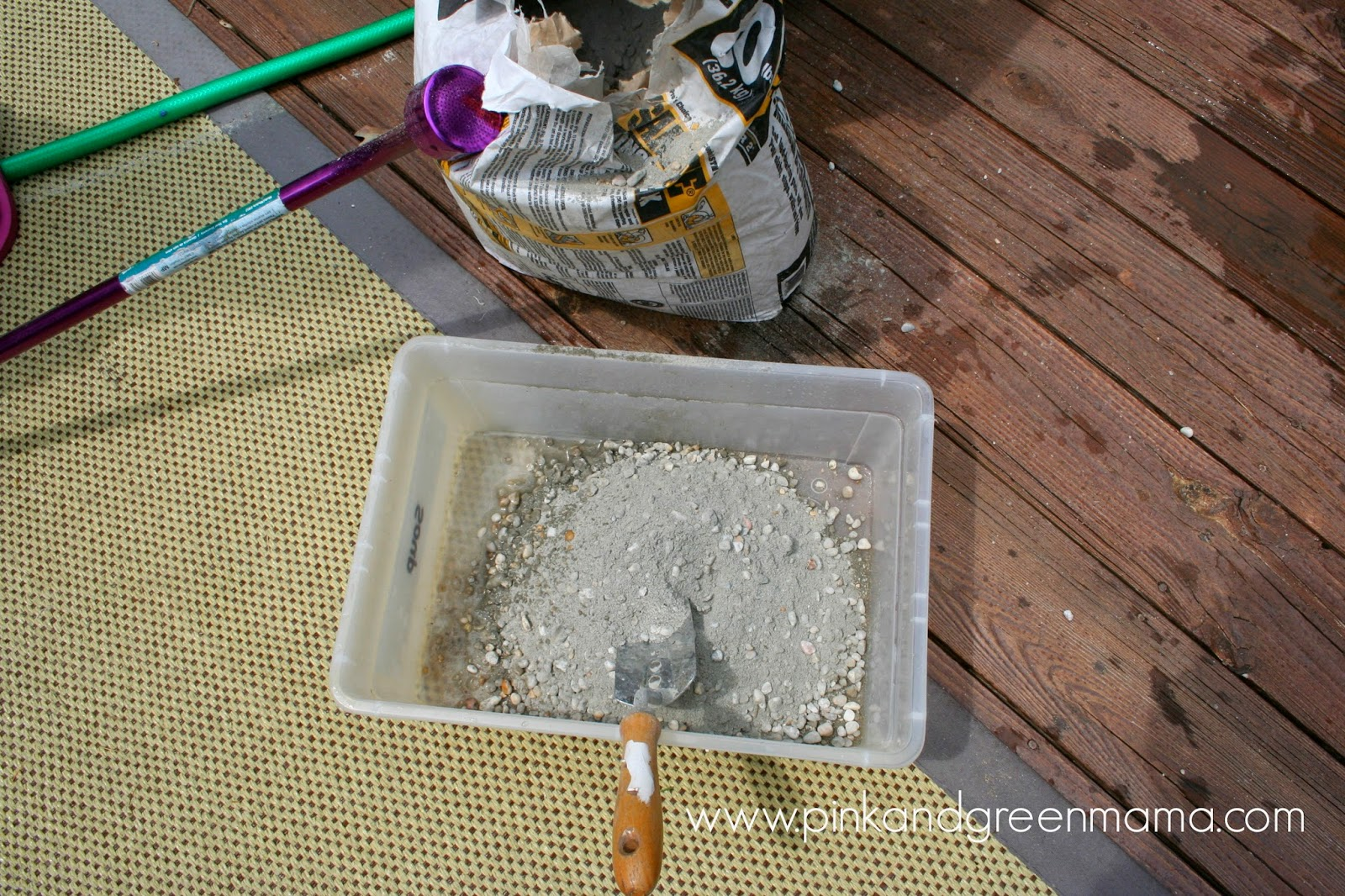 Pink and green mama dad friendly craft make garden for Craft cement mix