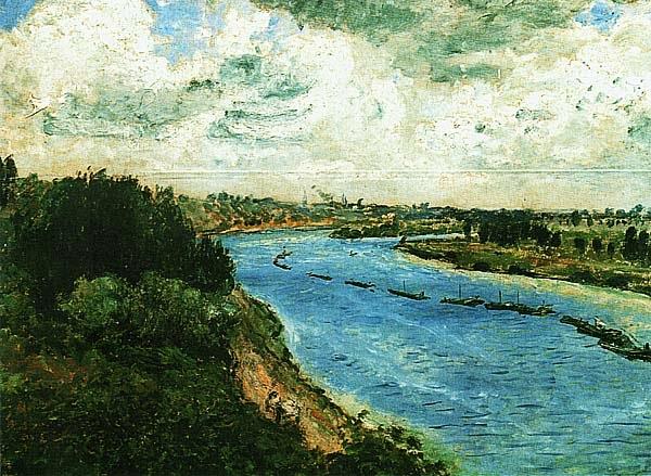 Огюст Ренуар. Баржи на Сене. 1869.