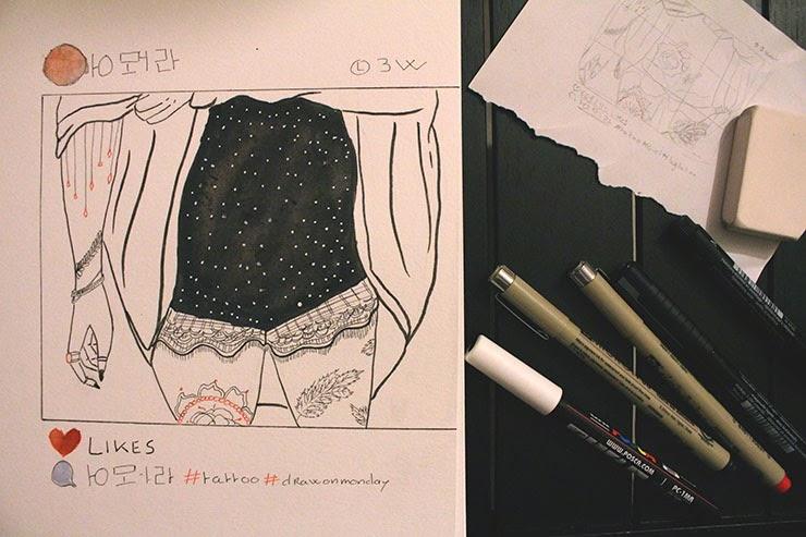 blog, blog dessin, blogueuse, dessin, draw on monday, draw, draw on monday #14, tattoo, tatouage, tumblr, instagram, lua, ethnic tattoo, enjoyk, kelly pelotte, kelly ragnet, leaf,