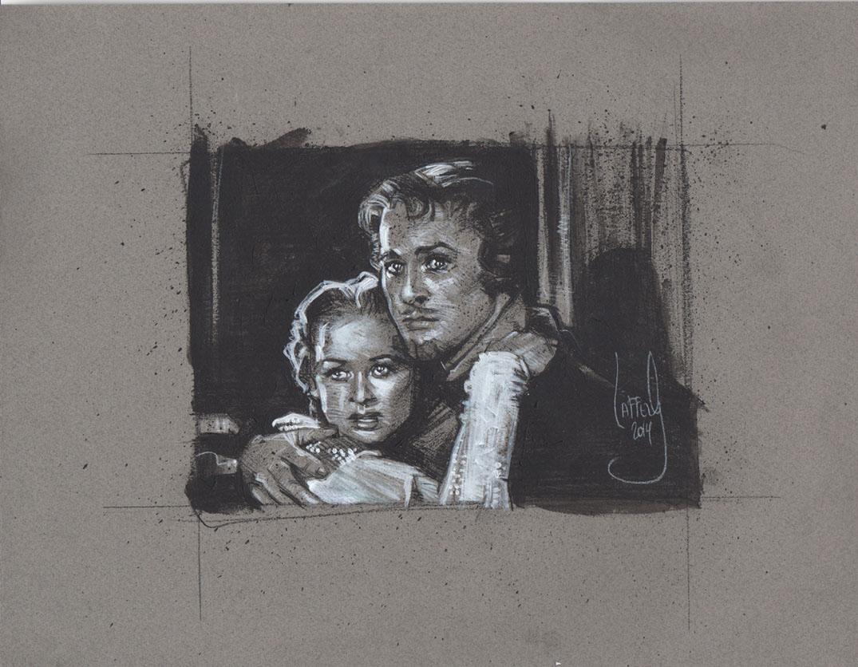 Errol Flynn and Olivia de Havilland, Artwork is Copyright © 2014 Jeff Lafferty