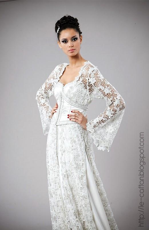 Caftan blanc mariage 2015 robes mari es de luxe caftan for Robes de mariage haut de gamme