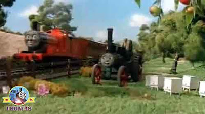 Thomas the Train James Goes Buzz Buzz all the way to Wellsworth village church fruit apple trees