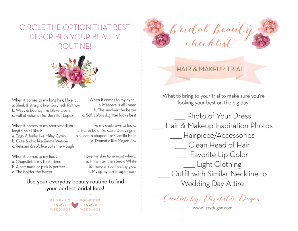 Buffalo bridal beauty your wedding day trial checklist buffalo buffalo indie weddings has summed it all up for you in this adorable wedding day beauty trial checklist junglespirit Images