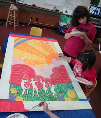 friendship mural, mural with kids