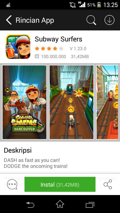 Tampilan Details Aplikasi Android Store