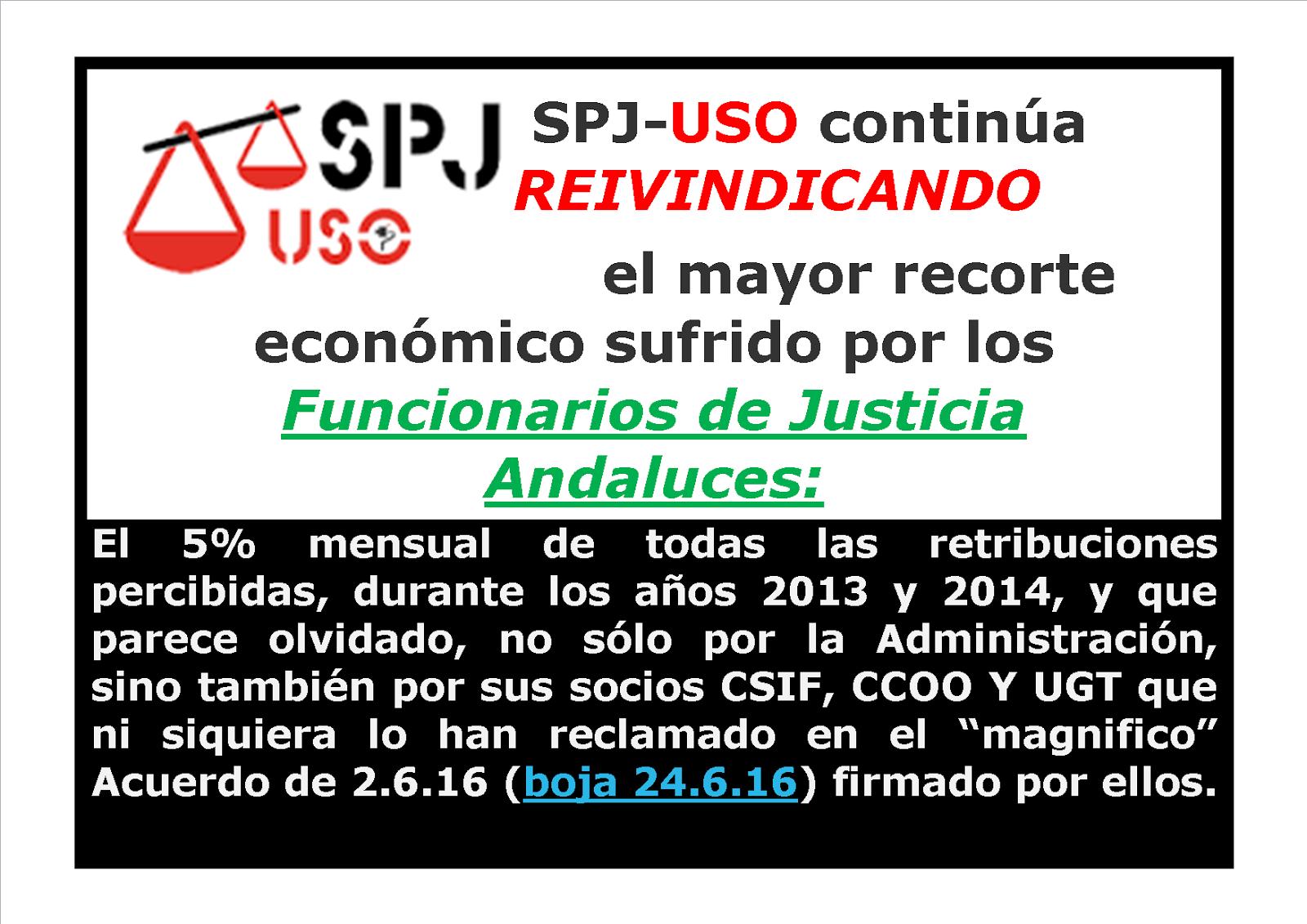 SPJ-USO continúa REIVINDICANDO  la devolución derechos robados.
