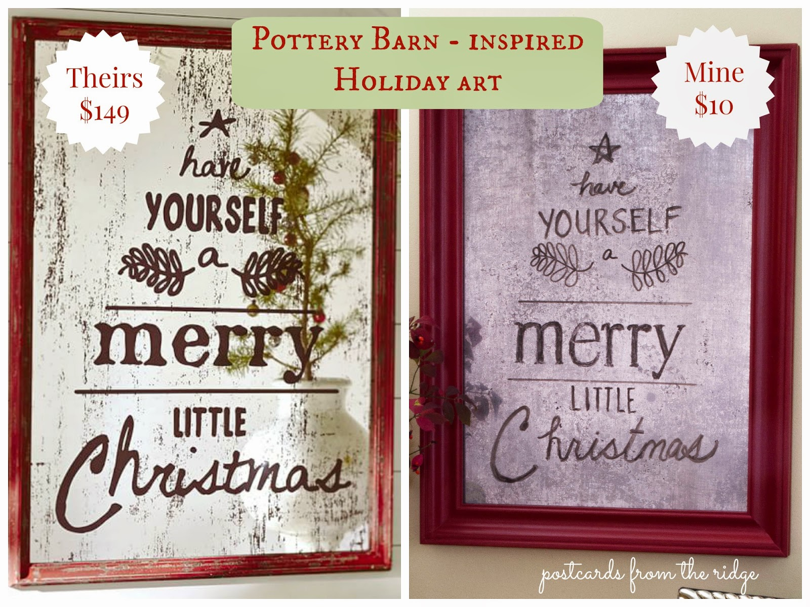 Pottery Barn inspired holiday mercury glass wall art for $10! Their version is $149. Gotta try this!