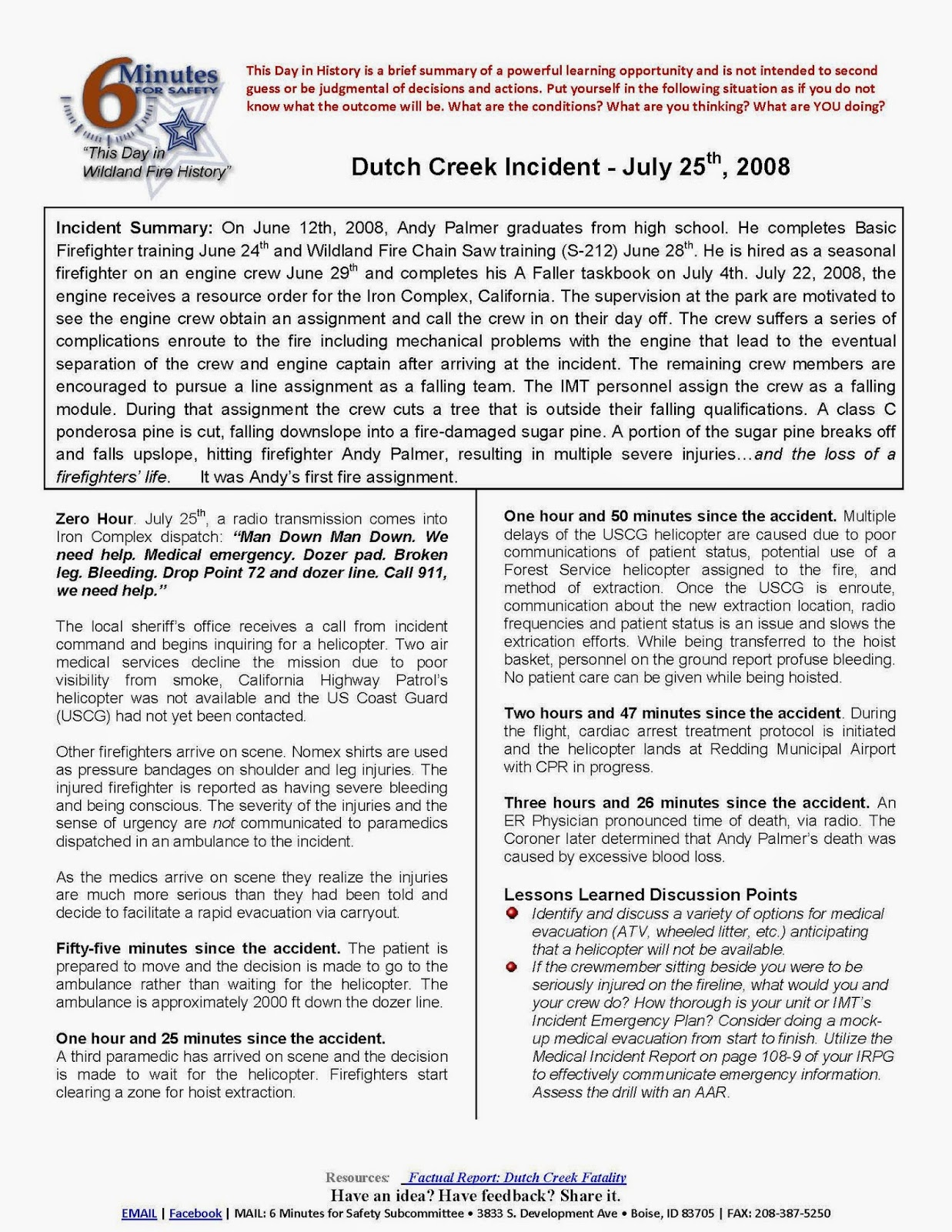 6 Minutes for Safety - Dutch Creek